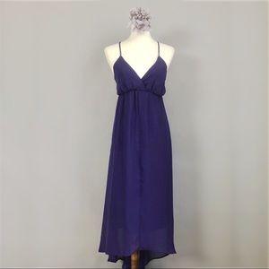 NWT Dark Purple Chiffon Maxi Dress (Sz Small)